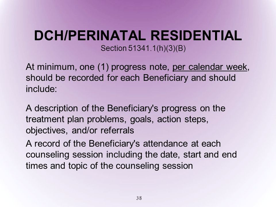 DCH/PERINATAL RESIDENTIAL Section 51341.1(h)(3)(B)