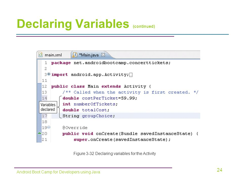 Declaring Variables (continued)