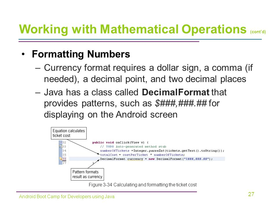 Working with Mathematical Operations (cont'd)