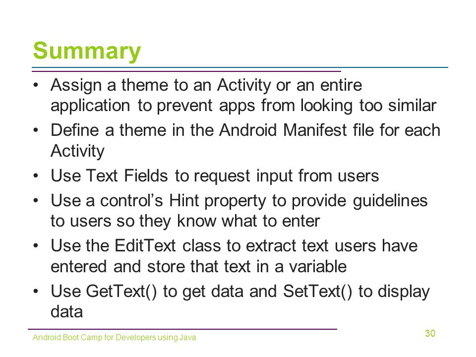 Summary Assign a theme to an Activity or an entire application to prevent apps from looking too similar.