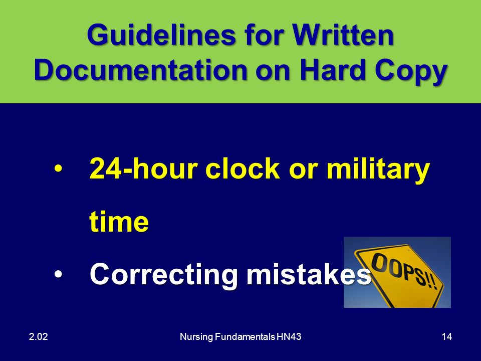 Guidelines for Written Documentation on Hard Copy