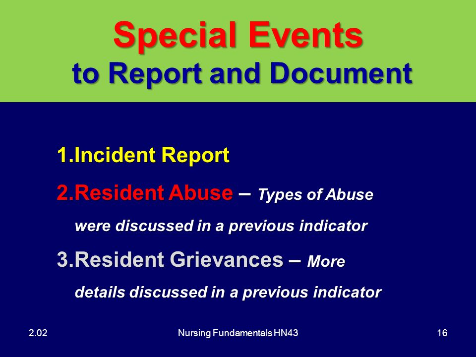 Special Events to Report and Document