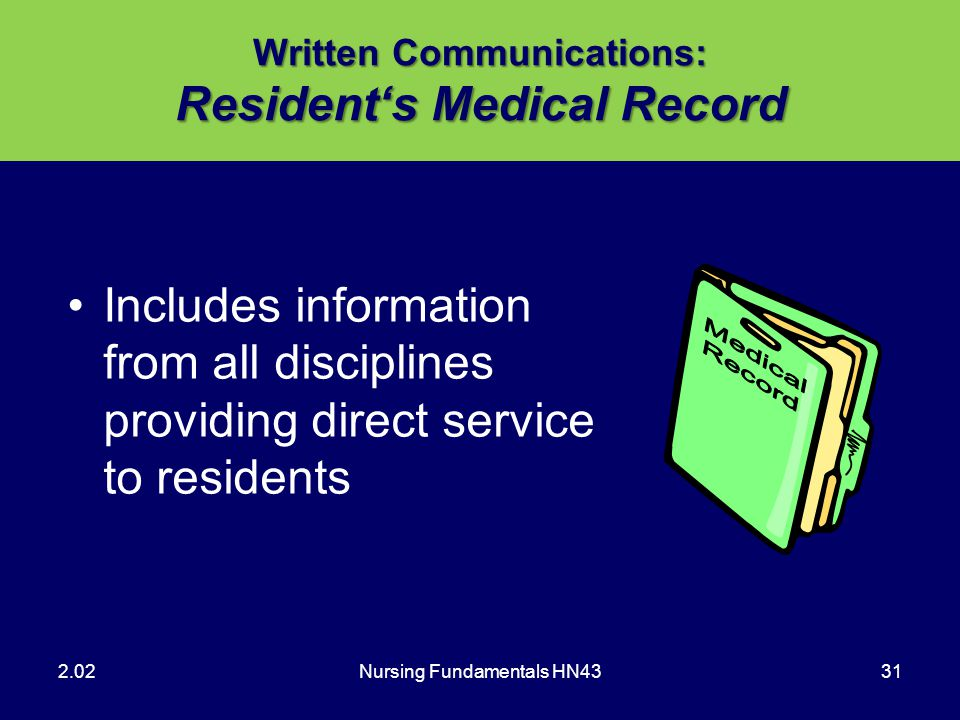 Written Communications: Resident's Medical Record