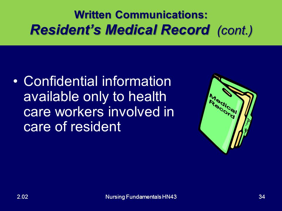 Written Communications: Resident's Medical Record (cont.)