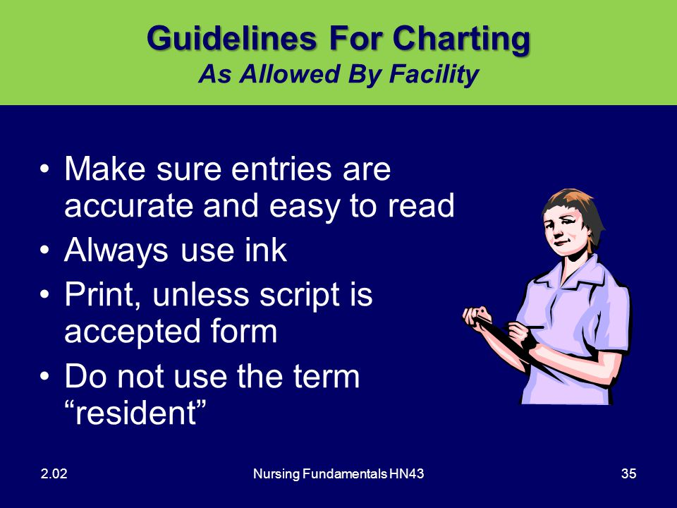 Guidelines For Charting As Allowed By Facility