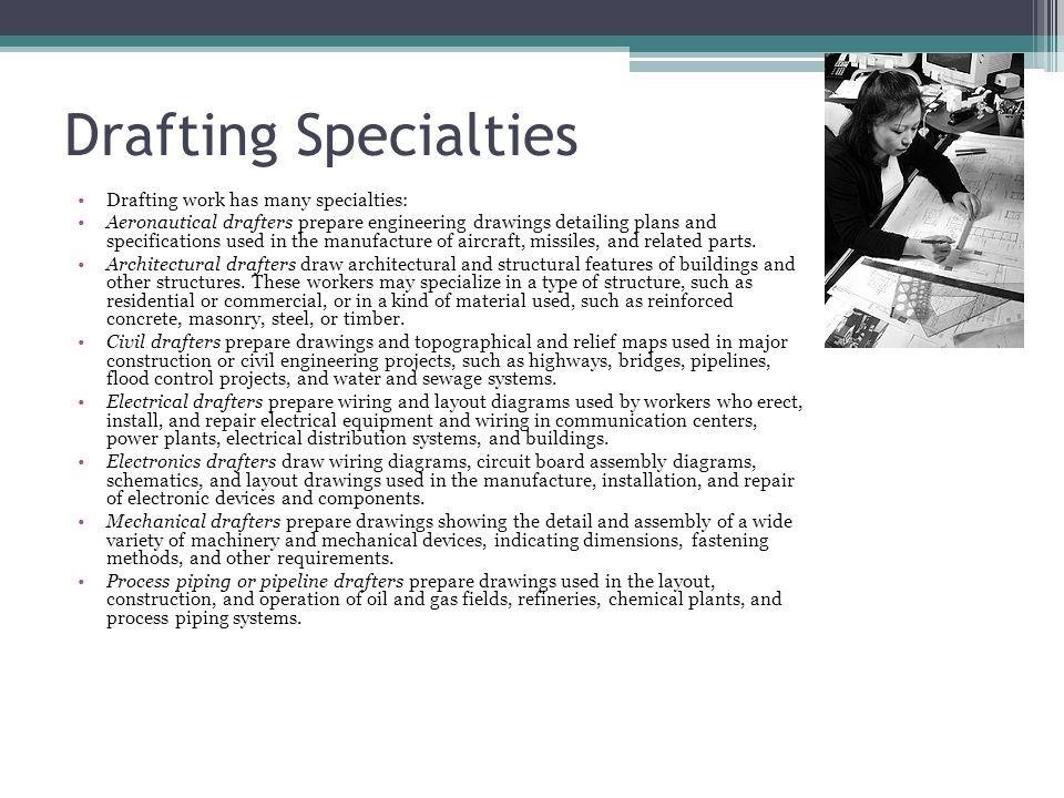 Drafting Specialties Drafting work has many specialties: