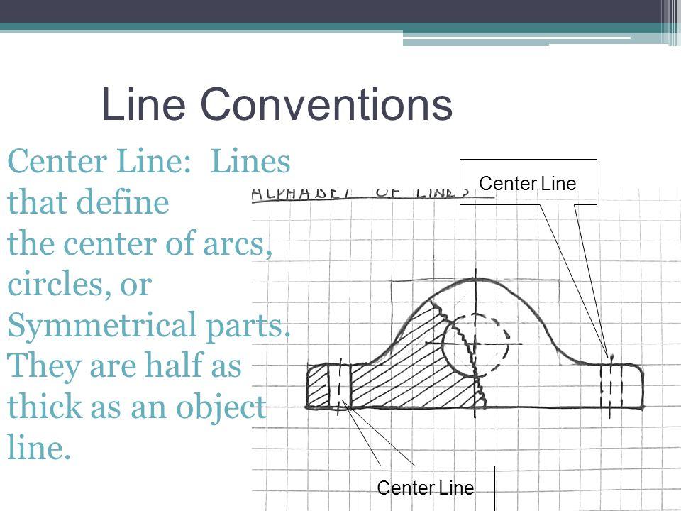 Line Conventions Center Line: Lines that define
