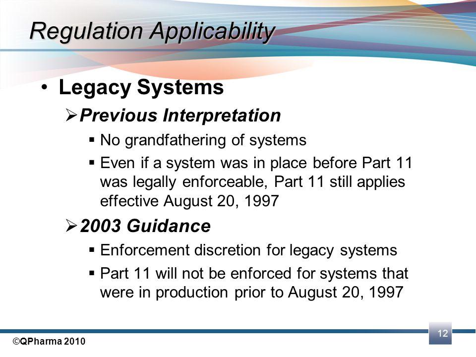 Regulation Applicability