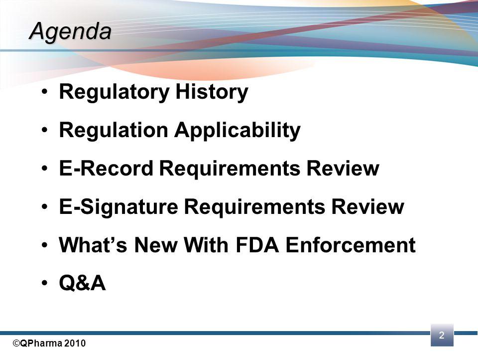 Agenda Regulatory History Regulation Applicability