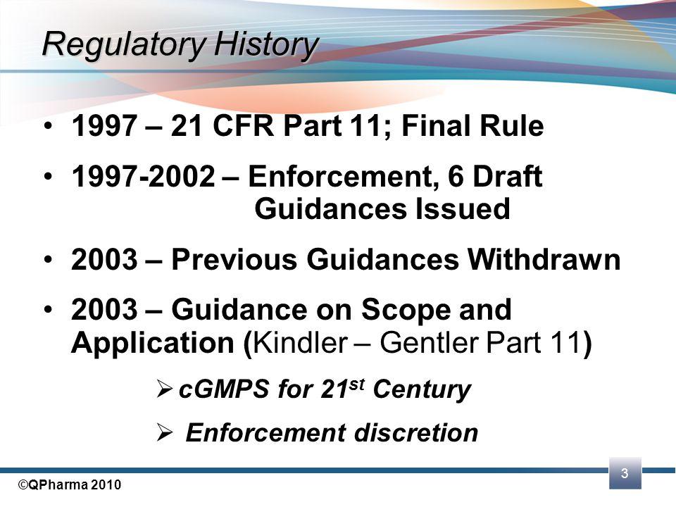 Regulatory History 1997 – 21 CFR Part 11; Final Rule