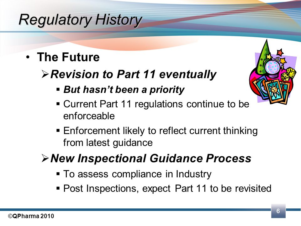 Regulatory History The Future Revision to Part 11 eventually