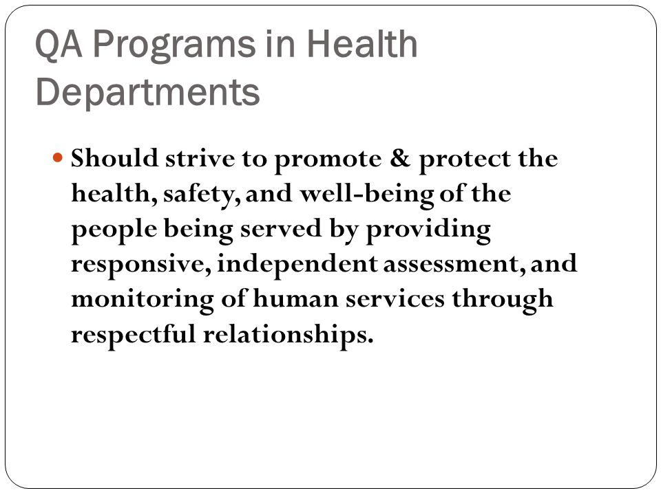QA Programs in Health Departments