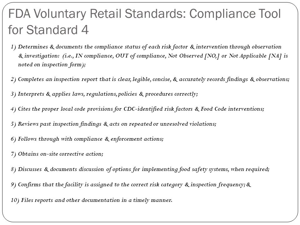 FDA Voluntary Retail Standards: Compliance Tool for Standard 4