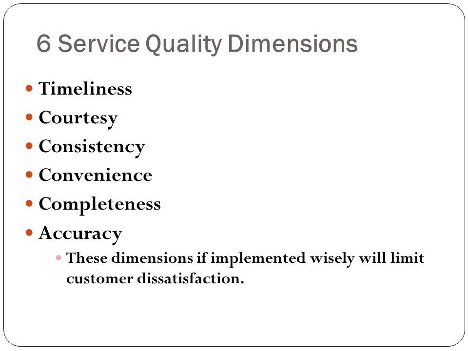 6 Service Quality Dimensions