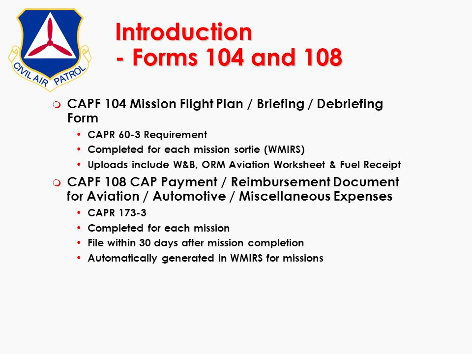 Introduction - Forms 104 and 108