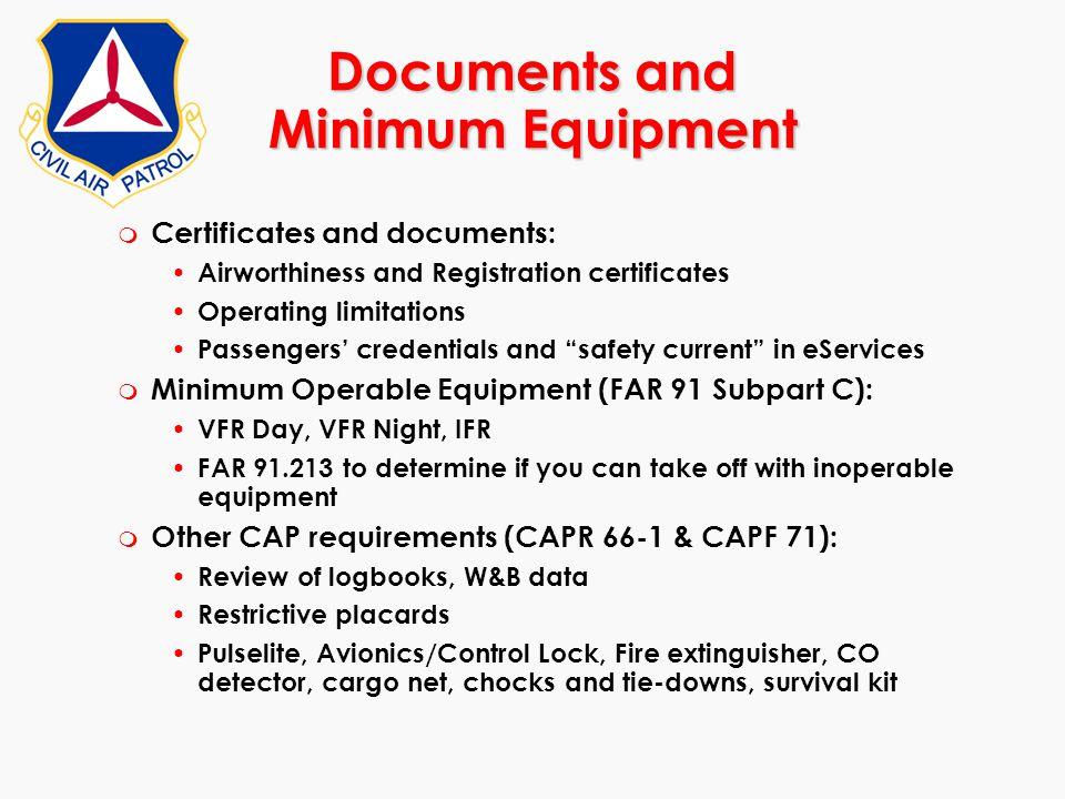 Documents and Minimum Equipment