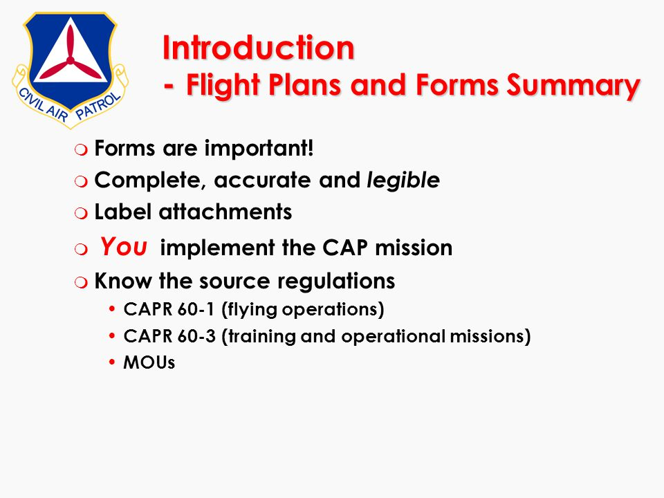 Introduction - Flight Plans and Forms Summary