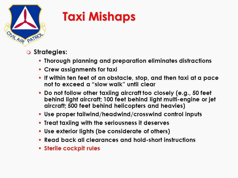 Taxi Mishaps Strategies: