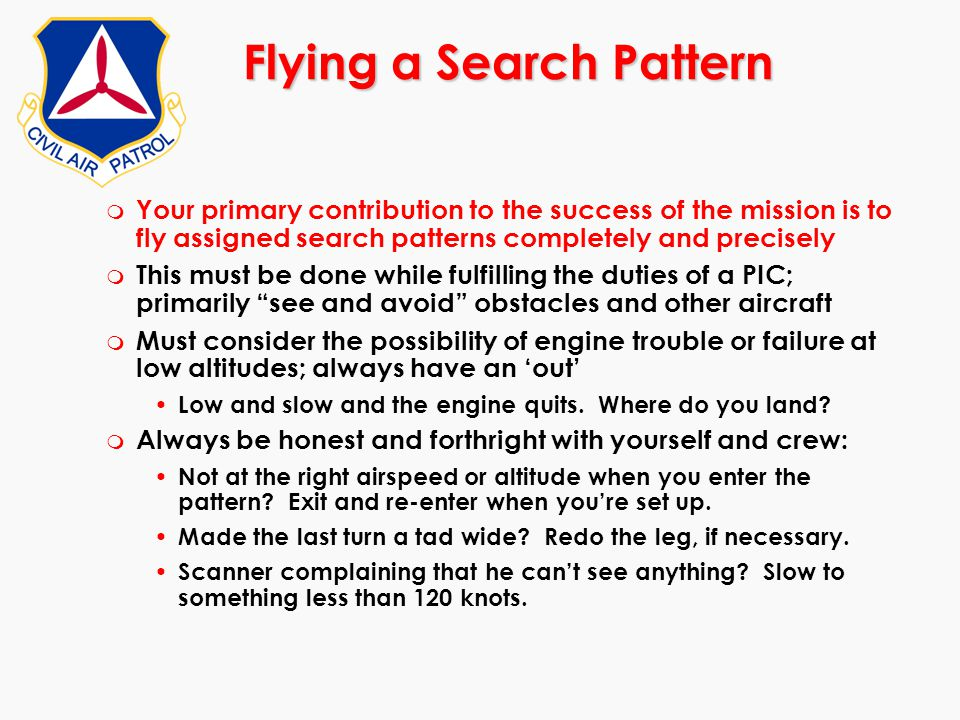 Flying a Search Pattern