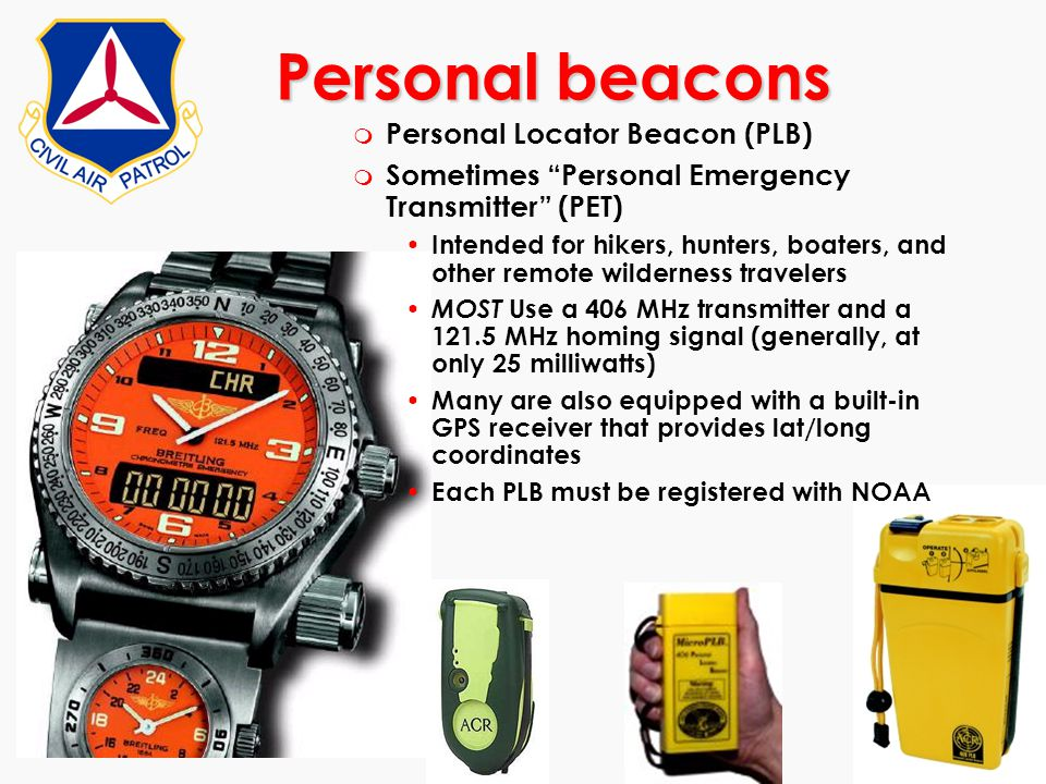 Personal beacons Personal Locator Beacon (PLB)