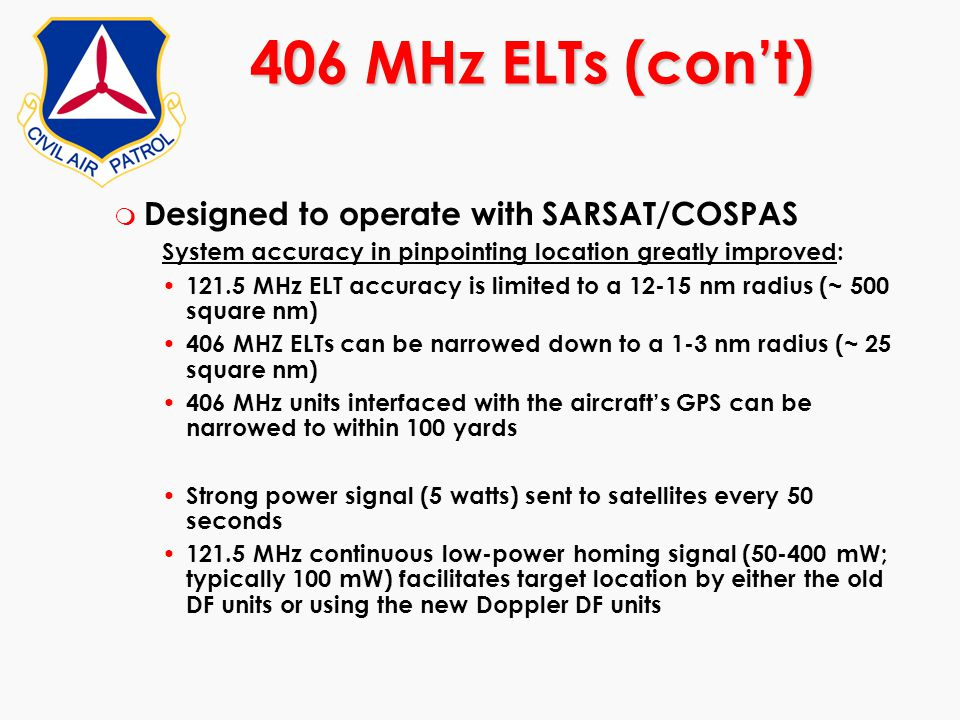 406 MHz ELTs (con't) Designed to operate with SARSAT/COSPAS