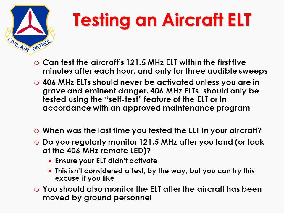 Testing an Aircraft ELT