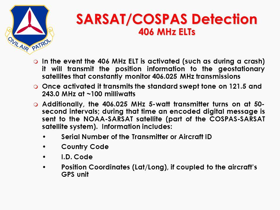 SARSAT/COSPAS Detection 406 MHz ELTs