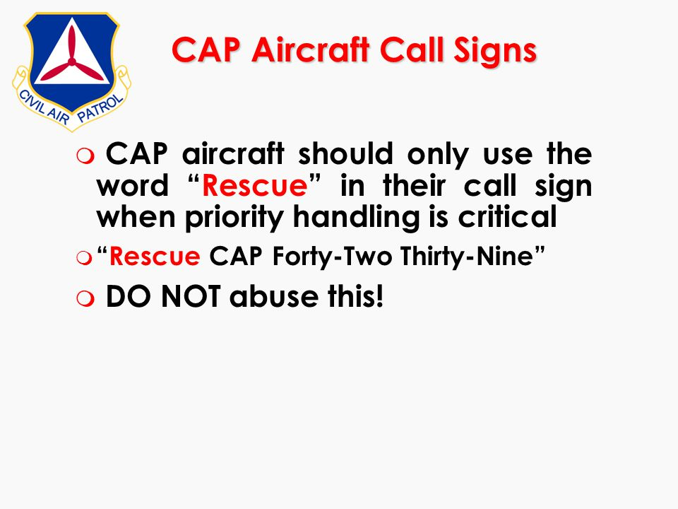 CAP Aircraft Call Signs