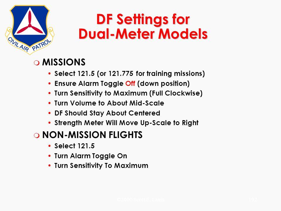 DF Settings for Dual-Meter Models
