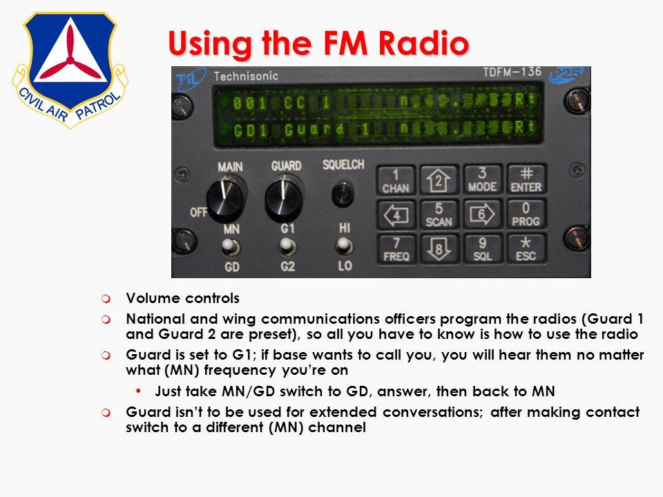 Using the FM Radio Volume controls