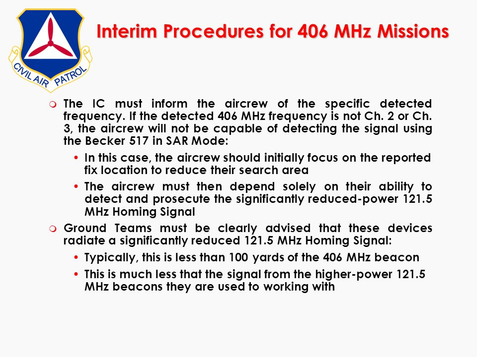 Interim Procedures for 406 MHz Missions