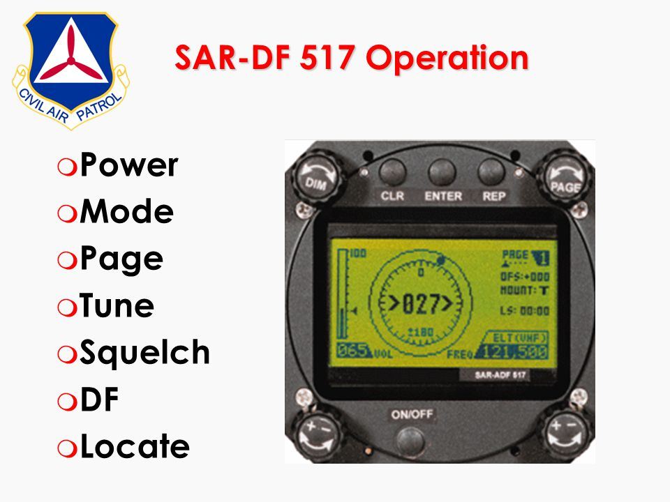 SAR-DF 517 Operation Power Mode Page Tune Squelch DF Locate