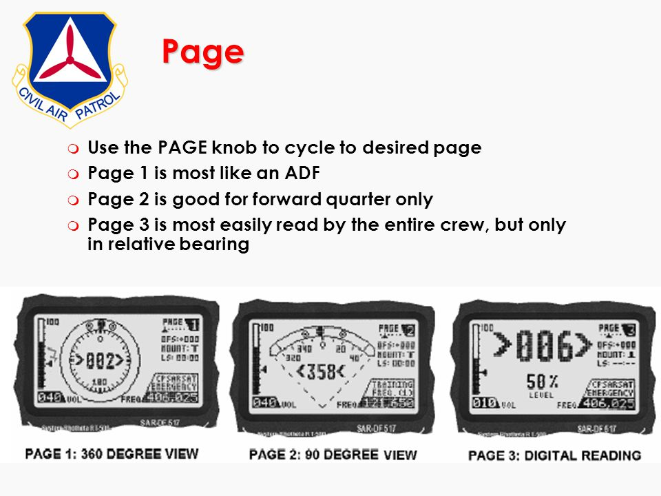 Page Use the PAGE knob to cycle to desired page