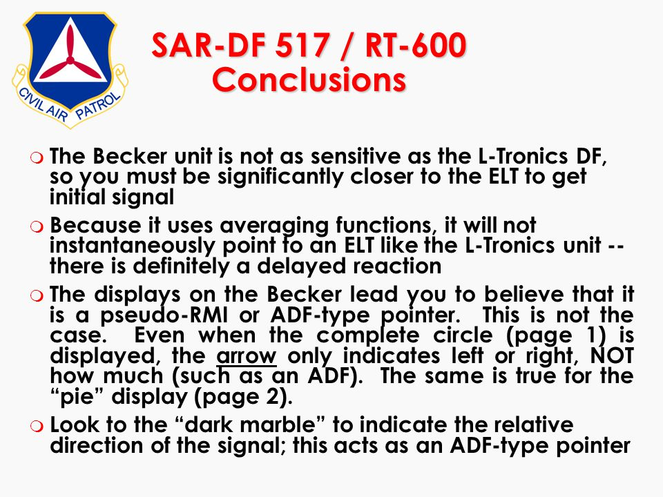 SAR-DF 517 / RT-600 Conclusions