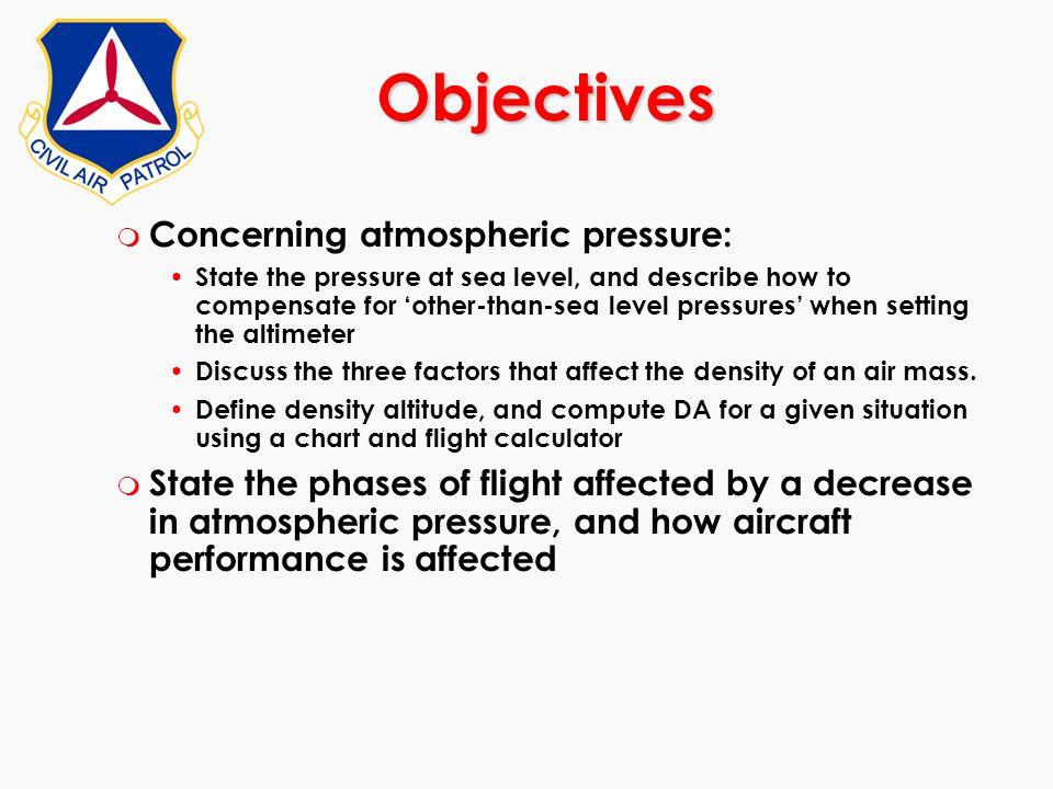 Objectives Concerning atmospheric pressure: