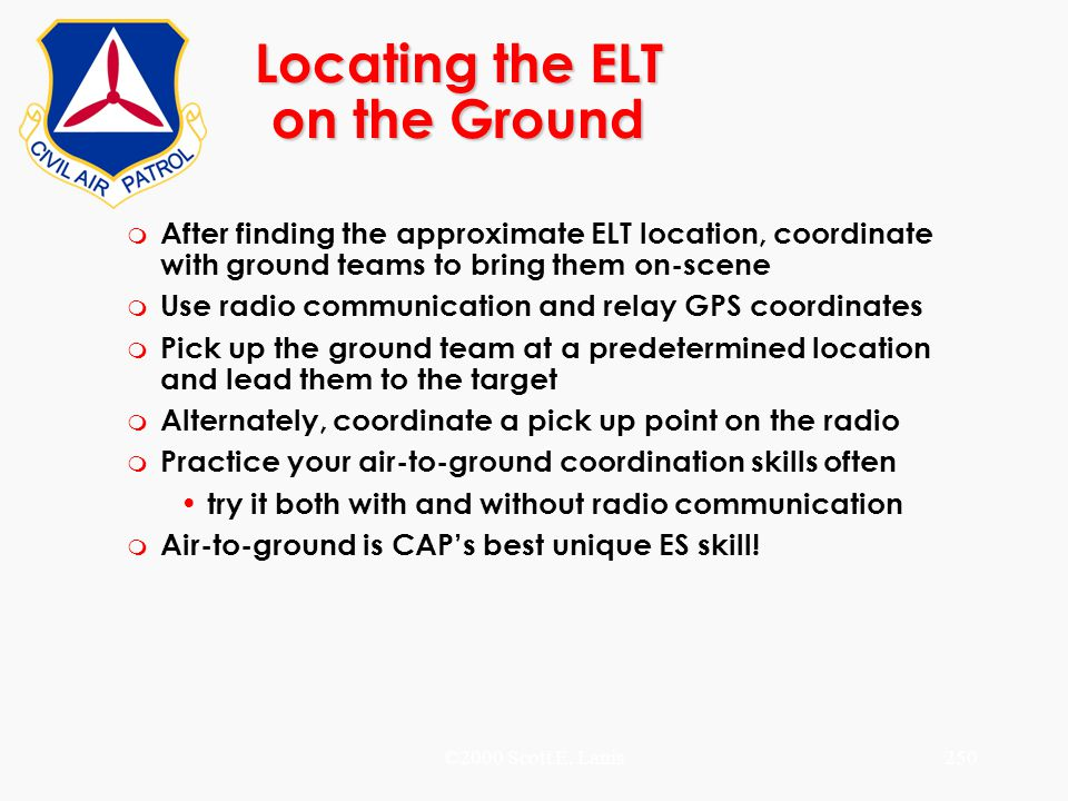 Locating the ELT on the Ground
