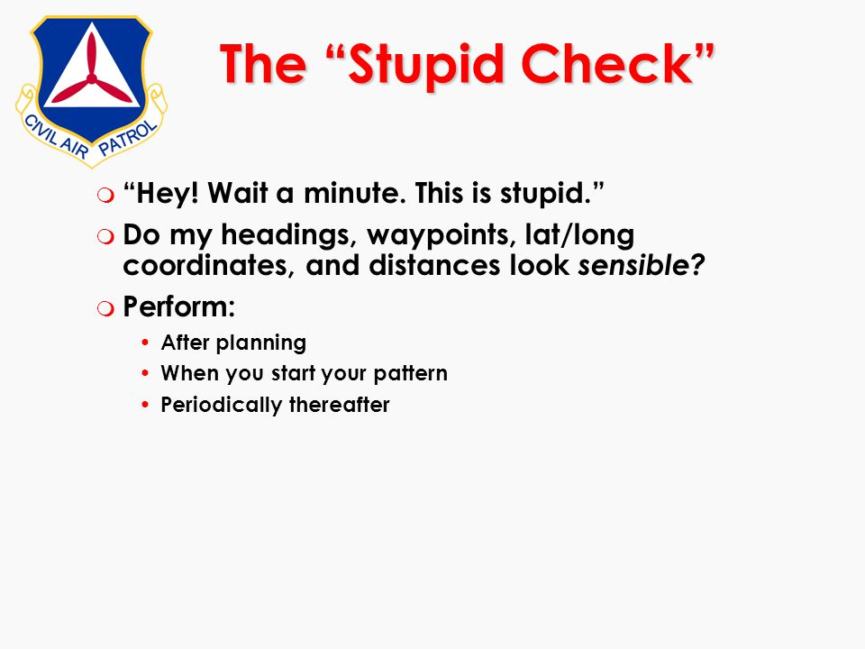 The Stupid Check Hey! Wait a minute. This is stupid.