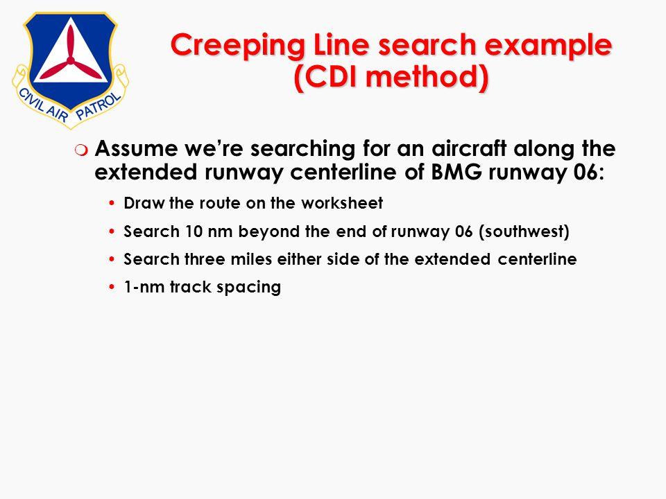 Creeping Line search example (CDI method)