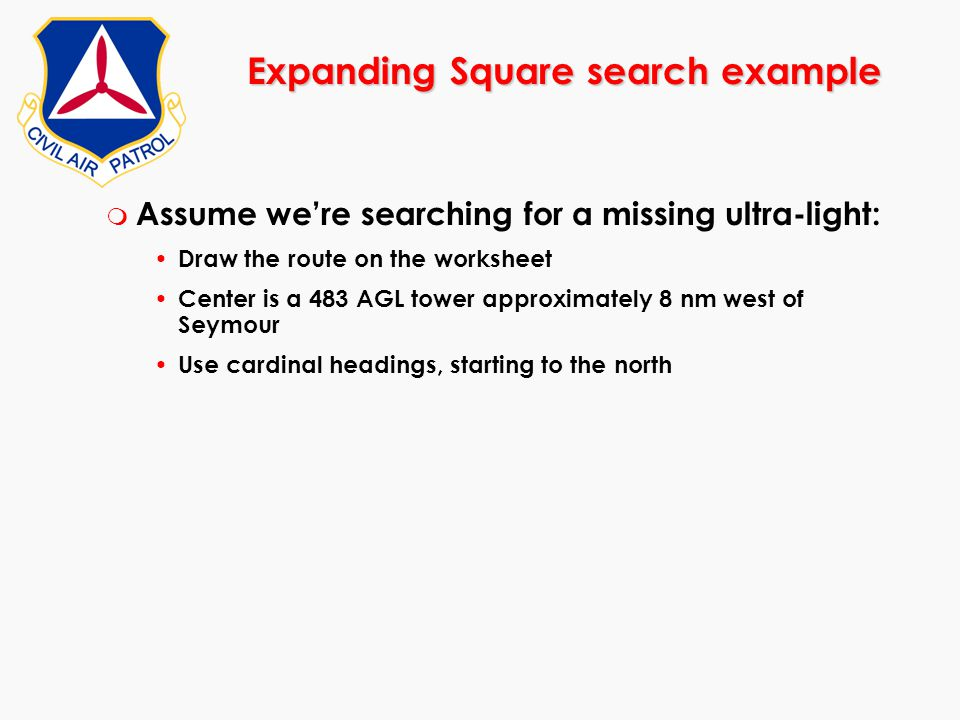 Expanding Square search example