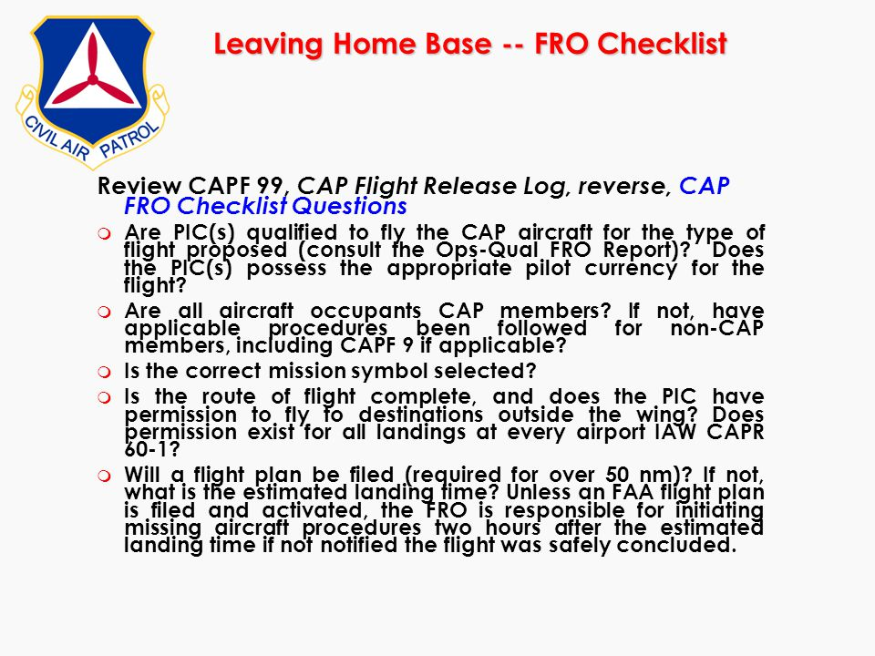 Leaving Home Base -- FRO Checklist