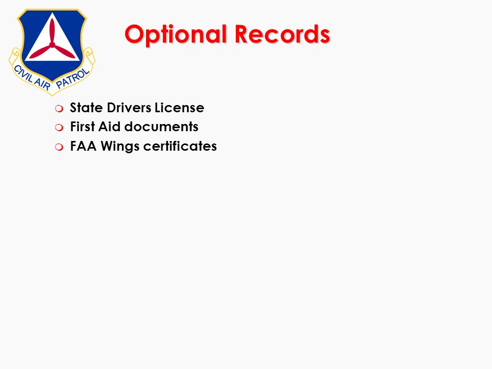 Optional Records State Drivers License First Aid documents