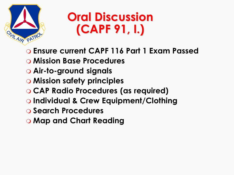 Oral Discussion (CAPF 91, I.)
