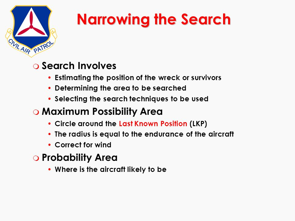 Narrowing the Search Search Involves Maximum Possibility Area