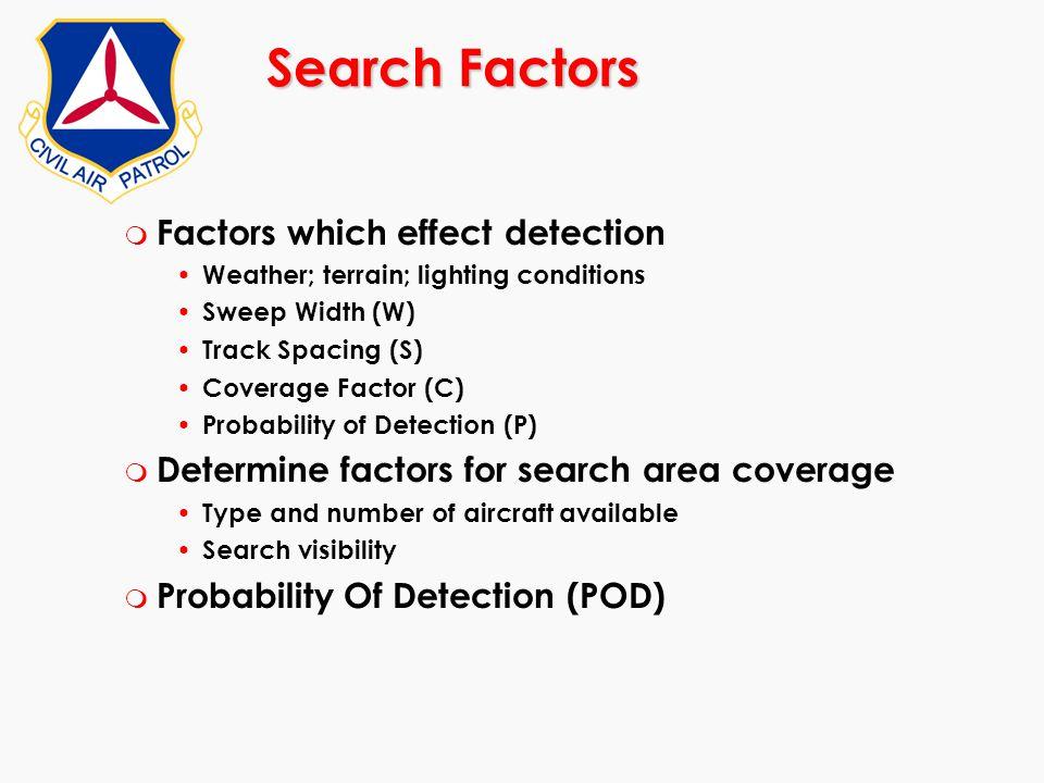 Search Factors Factors which effect detection