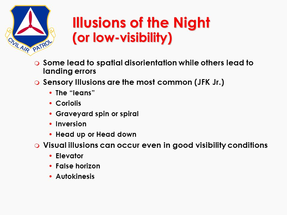Illusions of the Night (or low-visibility)