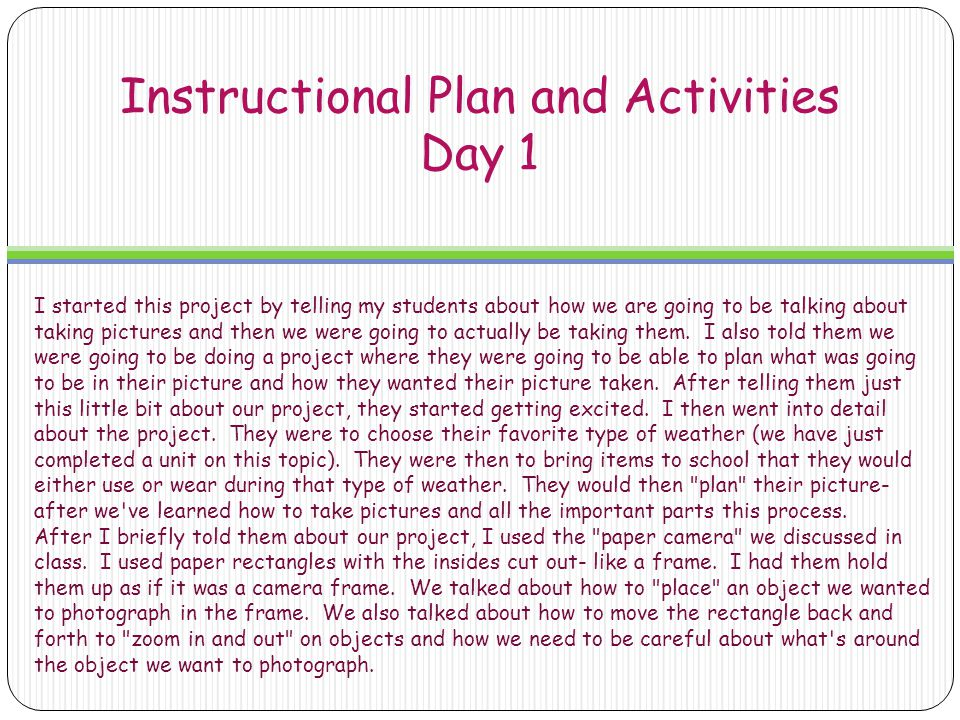Instructional Plan and Activities Day 1