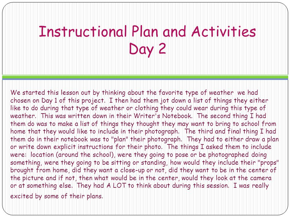 Instructional Plan and Activities Day 2