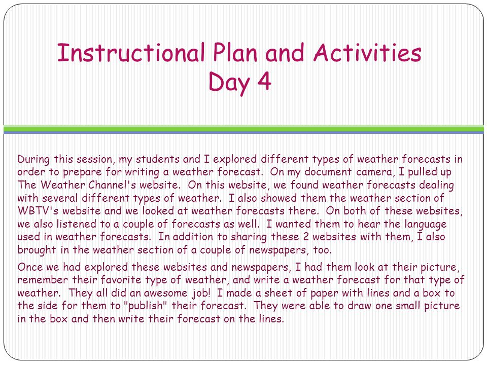 Instructional Plan and Activities Day 4