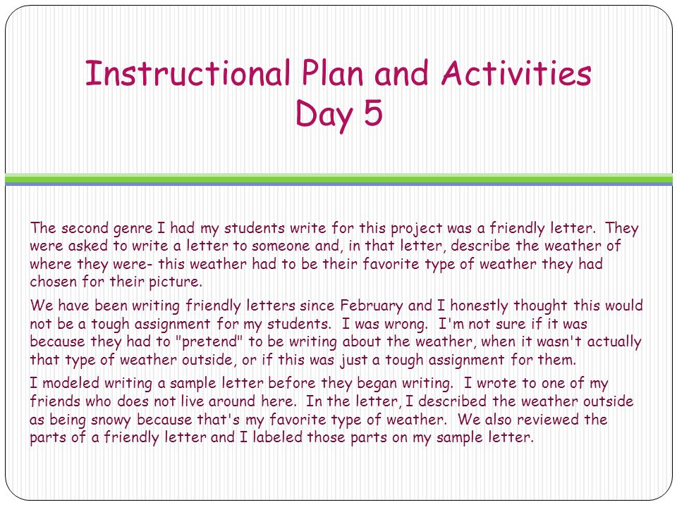 Instructional Plan and Activities Day 5