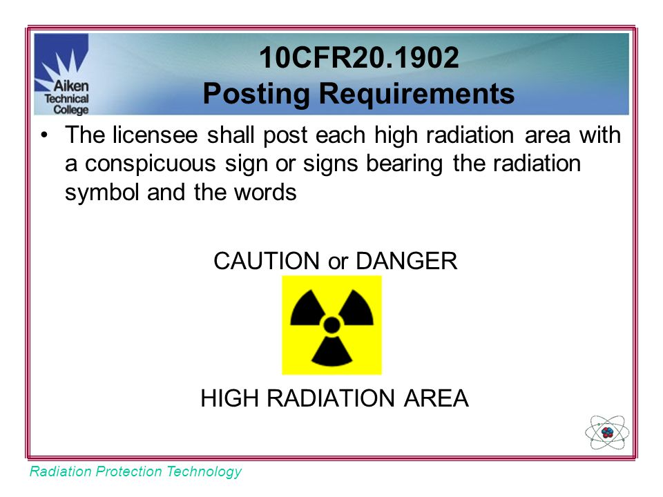 10CFR20.1902 Posting Requirements